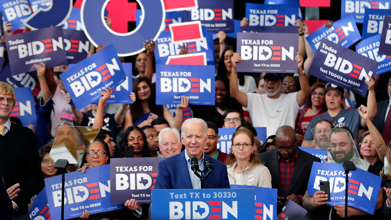Hasil gambar untuk Biden catches up with Sanders in Super Tuesday surge