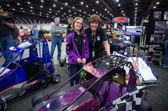 Ten-year-old quarter midget racer Karley Phillips, from Dryden, Mich., got a chance to spend some time with Lyn St. James at Autorama.