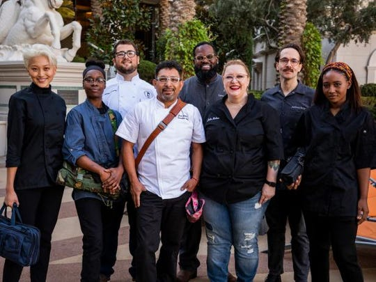 """The cast of new Food Network competition """"Vegas Chef Prizefight"""" includes local chef Brittney Brown, far right."""