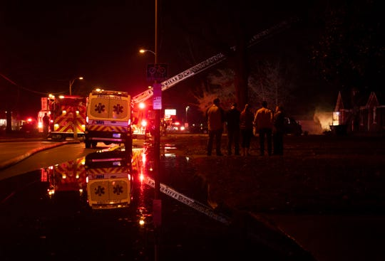 Evansville firefighters respond to a fire at 3012 Lincoln Avenue in Evansville Monday night, Mar. 2, 2020.