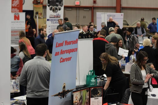 The Terra State Community College 2020 Spring Job Fair drew hundreds of potential job seekers to the college's Student Activities Center Tuesday. There were about 80 companies that fielded representatives at the job fair.
