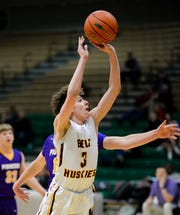 Belt's Aiden McDaniel shoots from close range in Monday's Northern C Divisional Basketball Tournament challenge game against Big Sandy in the Four Seasons Arena.