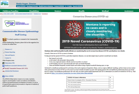 The state Department of Public Health and Human Services has set up a page reporting on the coronavirus at http://bit.ly/2VNn61z.