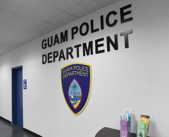 A lobby wall featuring the Guam Police Department logo at their Central Precinct Command in Sinajana, March 3, 2020.