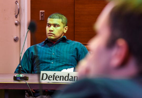 Brandon Acosta listens to testimony given by a family member of Timicca Nauta during his murder trial at the Superior Court of Guam in this March 3 file photo. Prosecutors said DNA evidence is enough to sustain the criminal sexual conduct and aggravated murder charges against Acosta.