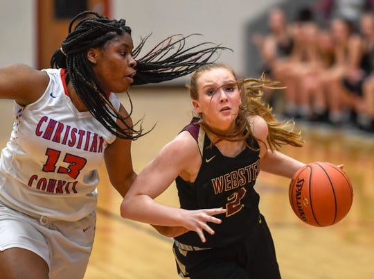 Webster County's Marissa Austin (2) drives to the goal under pressure from Christian County's Treliyah Thomas (13) as the Christian County Lady Colonels play the Webster County Lady Trojans at the Second Region Tournament in Hopkinsville Monday evening, March 2, 2020.