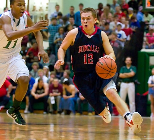 Roncalli's Bradley Fey was the hero in the Rebels' sectional triumph over Cathedral in 2012.