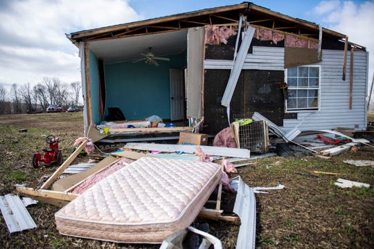 Dustin McCartney's home was hit by the storm in Bradford, Tenn., on Monday, March 2, 2020. McCartney and his family moved two weeks ago so the home was vacant during the storm.