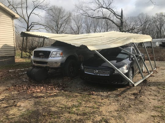 Michael and Kayla Hargrave's home was damaged in Camden around 11 p.m. Monday.
