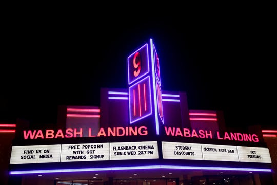 The Wabash Landing 9 marquee is illuminated, Monday, March 2, 2020 in West Lafayette.
