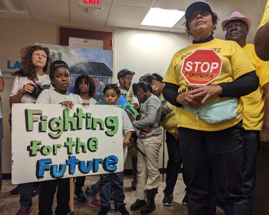 Rise St. James founder Sharon Lavigne (right) protests the approval of the Formosa industrial plant in Baton Rouge on Oct. 30, 2019. Formosa would double the toxic air emissions in St. James Parish and Lavigne lives five minutes from the proposed site.