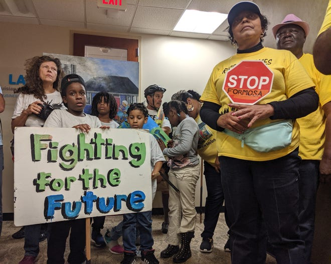 Rise St. James founder Sharon Lavigne (right) protests the approval of the Formosa industrial plant in Baton Rouge on Oct. 30. Formosa would double the toxic air emissions in St. James Parish and Lavigne lives five minutes from the proposed site.