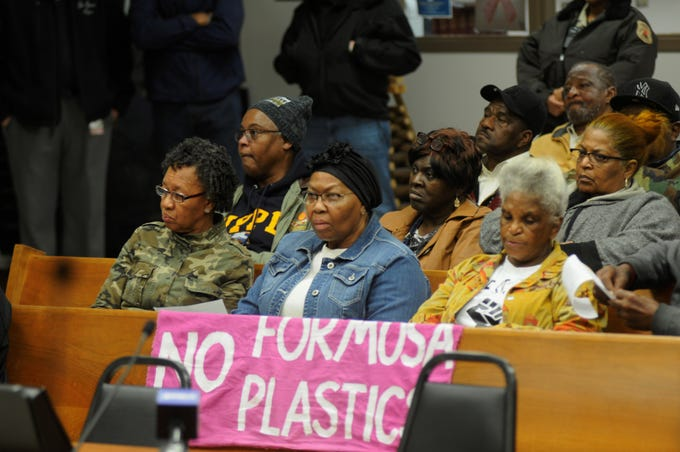 (From left) Barbara Washington, Myrtle Felton and Gail Leboeuf attend the Jan. 21 St. James Parish Council meeting where residents and activists asked the local government to rescind land use permits previously approved for Formosa.