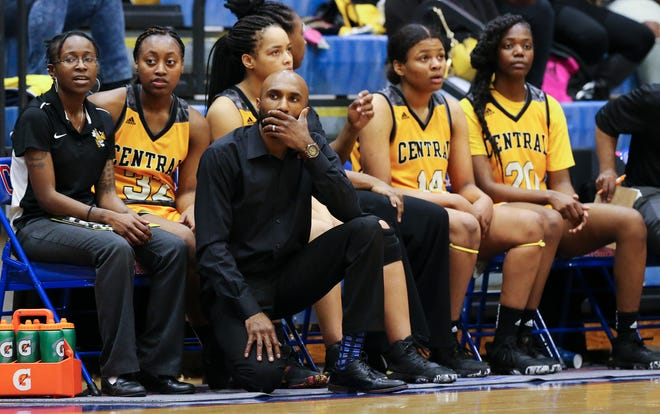 Central head coach Deshawn Pendleton watched as his team fell behind Christian Academy during their 7th Region Tournament game at Christian Academy in Louisville, Ky. on Mar. 2, 2020.