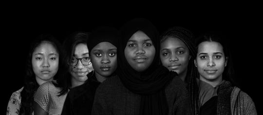 Students in the Women of Excellence Club at Iroquois High School. From left to right; Chocho Thang, Mikayla Willis, Fartuna Abdulkadir, Rawa Sam, Jimmicial Kirstie and Gabriela Hernandez. March 3, 2020.