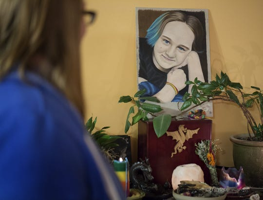 Stella Abel was 15 years old when she killed herself in November 2018. She was a popular student at Marysville, in the band, artistic, smart, and she was known around Columbus because she would sing gigs with her mom, Vanessa Prentice. Photographed at her home in Marysville, where she has photos and a memorial, Wednesday, February 5, 2020.