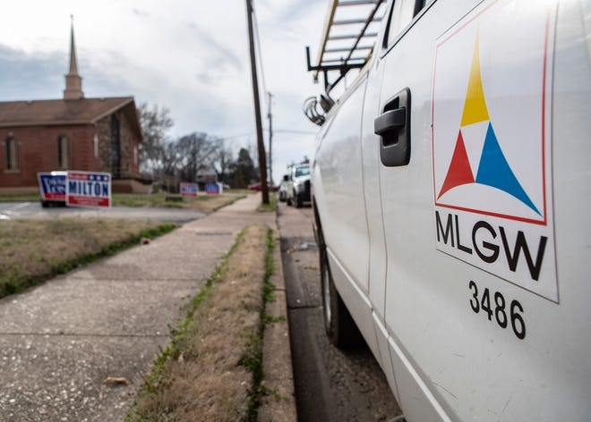 A Memphis Light, Gas and Water (MLGW) vehicle outside of  Union Valley Baptist Church after poll workers reported smelling gas on Tuesday, March  3, 2020.