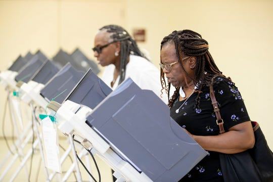 Robbie Young (left) and Annie Mitchell cast their ballots Tuesday, March 3, 2020, while voting at Pine Hills Community Center in Memphis.