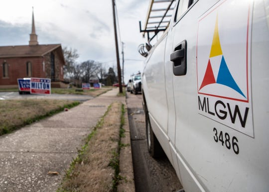 A Memphis Light, Gas and Water vehicle sits outside Union Valley Baptist Church after poll workers reported smelling gas on Tuesday, March  3, 2020.