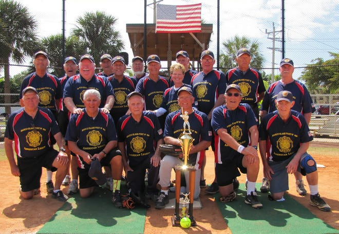 American Legion Post 404, the Gulf Coast Division champions, from left, standing: Al Bozzo, Steve Slaggie (coach), Jim Conway (manager), Tony Brock, Charles Pineno, Jim Battye, Angelo Polizzi, Trish Conway (statistician), Jack Patterson (coach), Doug Patton (coach), Bill Diamond, Jerry Lenhoff; kneeling: Darryl Judson (coach), Rick Condle, Leroy Fishleigh, Gary Badger, Don Mandetta and Edd Dreyfus.