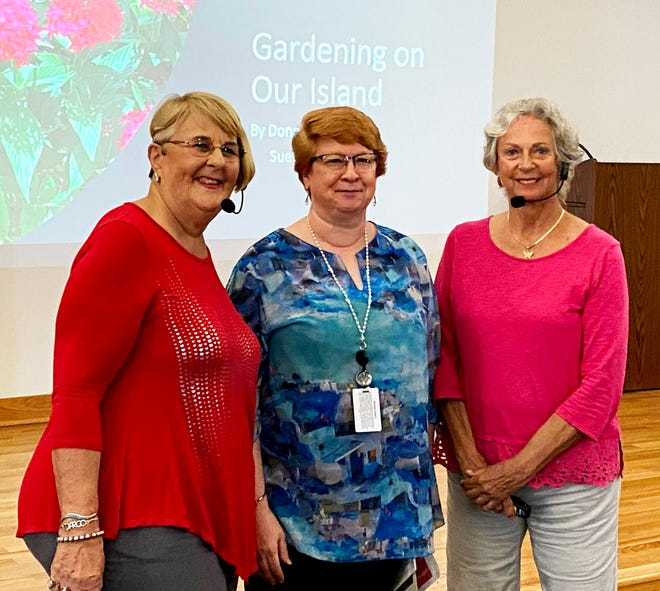 Above, with the front page of the illustrated talk shown in the background, are Sue Oldershaw, a Garden Club member with over 40 years experience gardening on Marco Island; Brenda Rasch, librarian of Marco Branch of Collier County Library; and Donna Kay, a Garden Club member who is a certified Collier County master gardener.  Oldershaw and Kay illustrated their important points with photos taken by Kay that showed good and bad practices evident in local Marco Island landscapes and gardens.