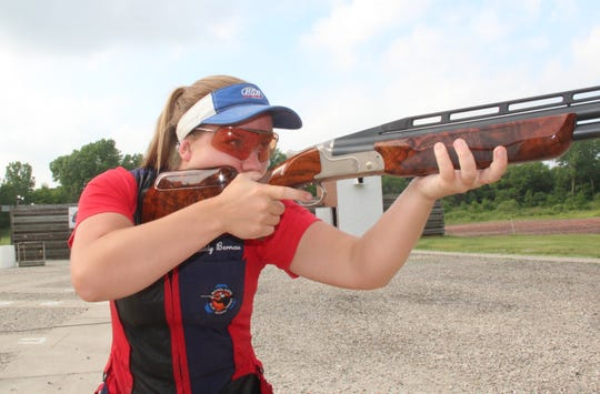 Madelynn Bernau of Waterford, shown practicing in Burlington in this file photo, qualified for the 2020 U.S. Olympic team in women's trapshooting.