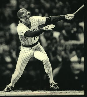 Milwaukee's Robin Yount smacked a double in the first inning Tuesday night at County Stadium. Yount had two of the Brewers' four hits. California won, 2-0.