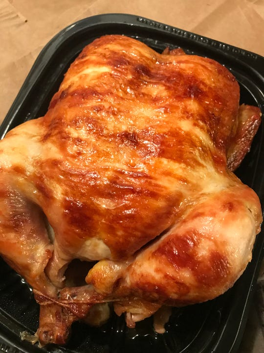 The rotisserie chickens at Costco are inexpensive and plump; this one, at $4.99, weighed 3 pounds, 8 ounces.