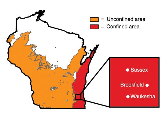 The area marked in red has experienced a growth in radium-tainted water, a research study by a team of graduate students at the University of Wisconsin-Madison shows. The study reviewed data over an 18-year period and found that the concentration of radium in groundwater has increased statewide.