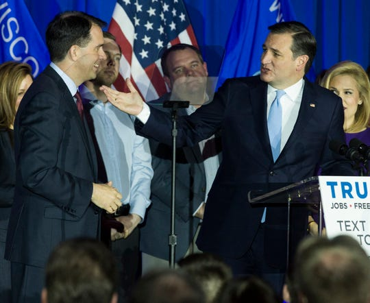 2016: Republican presidential candidate Ted Cruz, right, thanks Gov. Scott Walker for his support while speaking to a crowd at Serb Hall in Milwaukee on April 5, 2016. Cruz was celebrating his win in the Wisconsin primary over Donald Trump that night. Although Cruz won the next two contests, Trump ran the rest of the table on his way to the Republican nomination - and the White House.