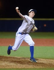 Mountain Home's Trey Jordan delivers a pitch against Springdale Har-Ber on Monday night at McClain Park.
