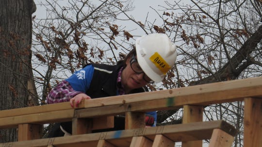 District 25 Assemblywoman Aura Dunn at work with more than two dozen women volunteers helping to build a six-unit condominium in the Succasunna section of Roxbury on Women Build Day. March 3, 2020