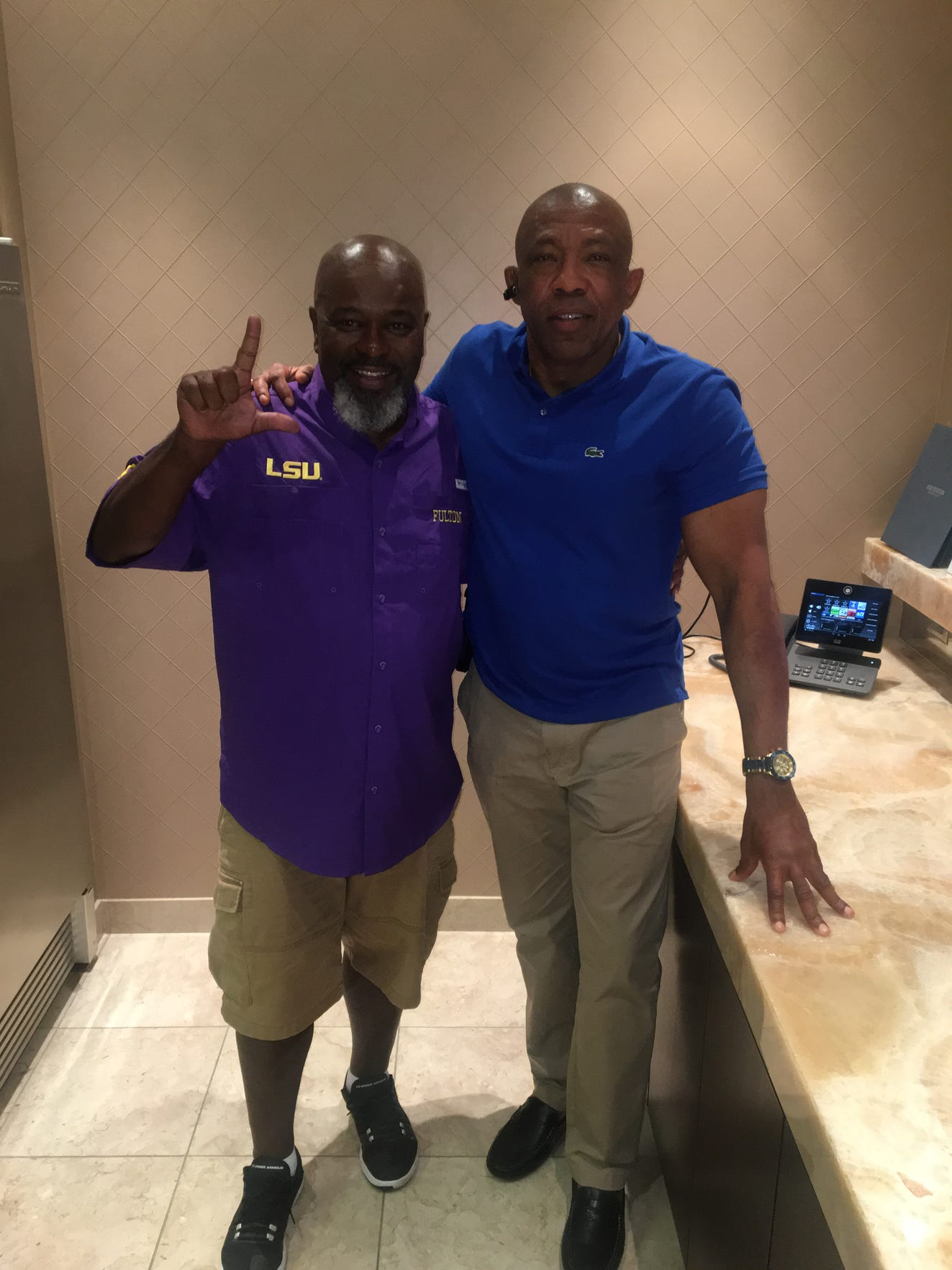 Don Jackson and Keith Fulton pose for a photo together at Kristian Fulton's first game off suspension, LSU's 2018 season-opener vs. Miami in Dallas.