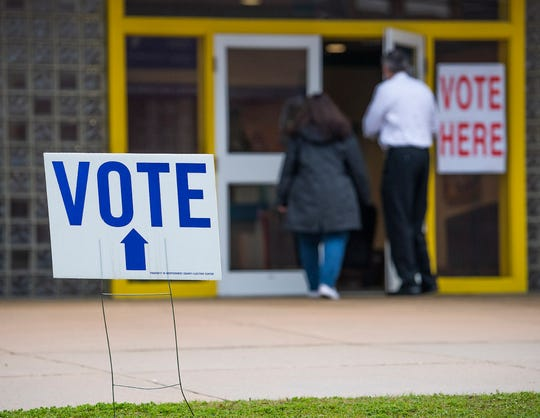 Voters arrive to vote in Montgomery, Ala., on Tuesday March 3, 2020.