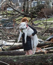 Caulyn Pressnell holds Scout  as they navigate downed tress on Holly Street after a tornado hit East Nashville on Tuesday, March 3, in East Nashville, Tenn.