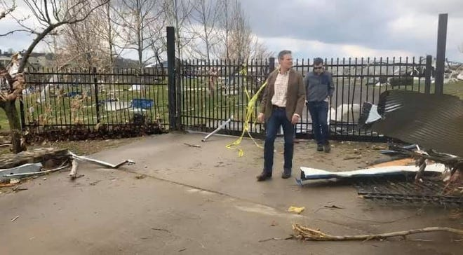 Gov. Bill Lee visits the Tennessee State University campus after a tornado caused damage when it touched down on Tuesday morning.