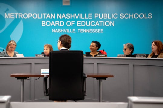 Shelley Redinger sits before the MNPS school board on Monday.