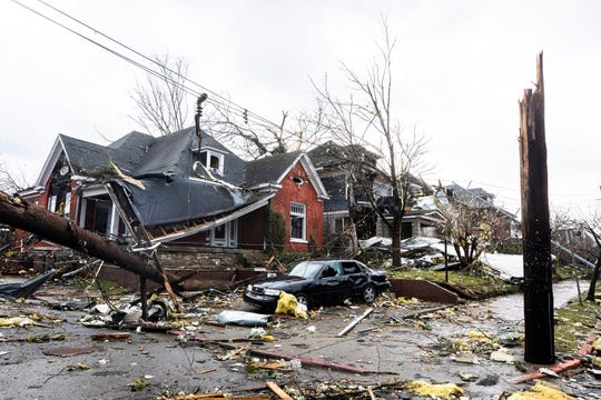 Tornado damage in the intersection of 11th and Holly Streets in East Nashville photographed Tuesday, March 3, 2020.