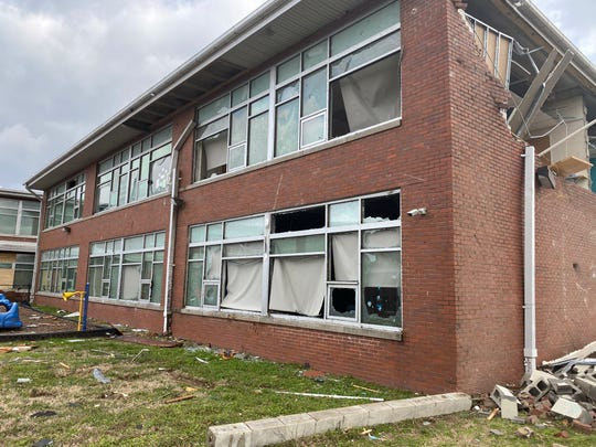 A supporting wall was damaged and windows blown out by tornado winds at Robert Churchwell Museum Magnet Elementary School in North Nashville.