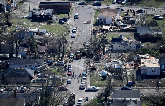 Damage on 16th Avenue North in North Nashville as seen from a MNPD helicopter after a tornado touched down Tuesday, March 3, 2020 in Nashville, Tenn.