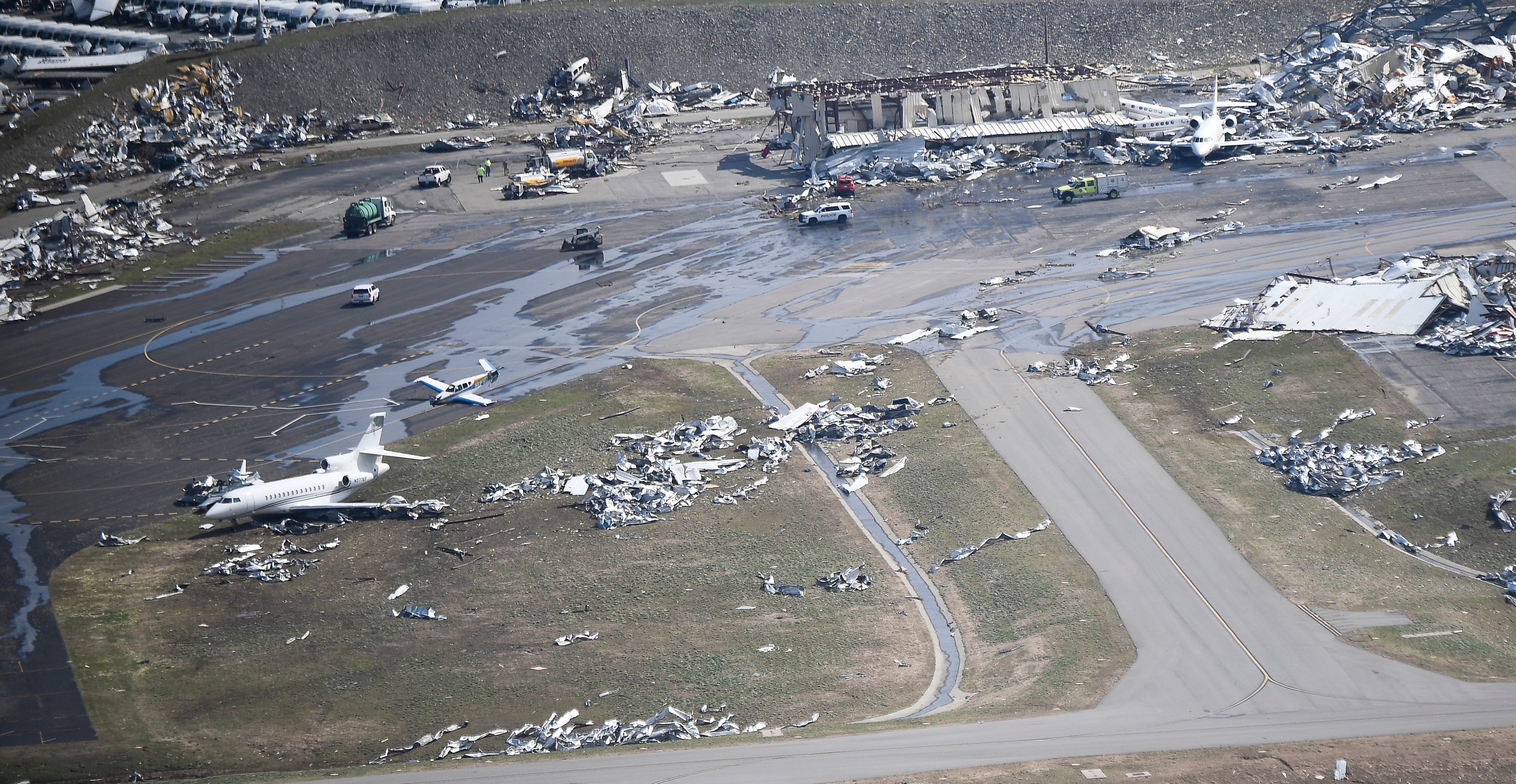 Nashville's John C. Tune Airport after a tornado ripped through the city in the early hours of Tuesday morning.