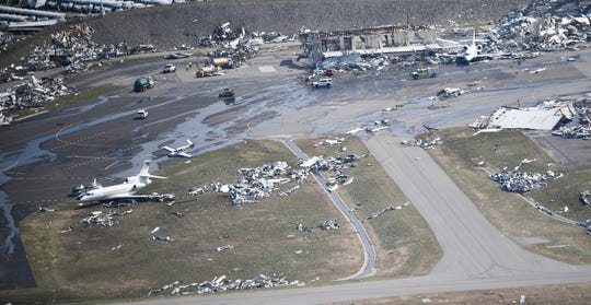An aerial view of John C. Tune Airport after a tornado ripped through the city  Tuesday, March 3, 2020 in Nashville, Tenn.