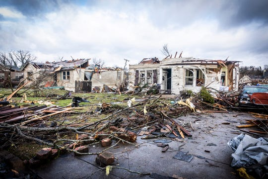Tornado damage in East Nashville photographed Tuesday, March 3, 2020.
