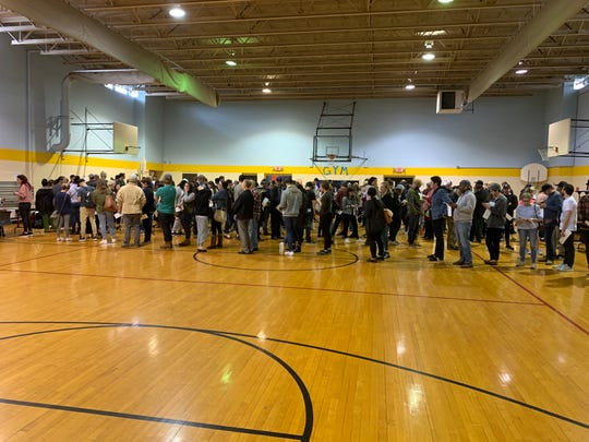 Long lines of voters crowd the Cleveland Community Center in East Nashville.