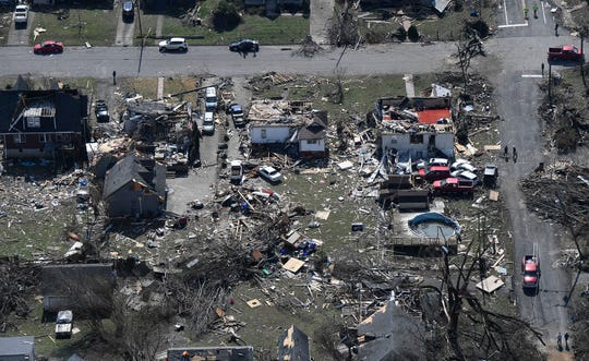 An aerial view of East Nashville after a tornado ripped through the city Tuesday, March 3, 2020 in Nashville, Tenn.