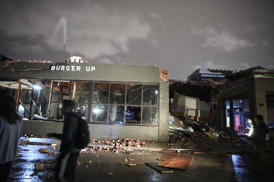 The building housing Burger Up in East Nashville's Five Points neighborhood was destroyed in the tornado that hit the city on Tuesday, March 3, 2020.