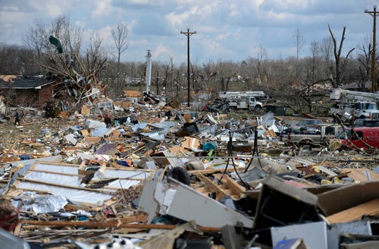 A debris field where  homes were demolished by a tornado that hit the Echo Valley Estates on Tuesday, March 3, 2020, in Putnam County, Tenn.