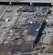 An aerial view of Department of Human Services offices along 2nd Ave. N. after a tornado ripped through the city  Tuesday, March 3, 2020 in Nashville, Tenn.