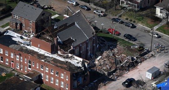 An aerial view of East End United Methodist Church after a tornado ripped through the city Tuesday, March 3, 2020 in Nashville, Tenn.