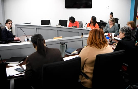The MNPS school board asks questions of superintendent candidate Shelly Redinger on Monday.